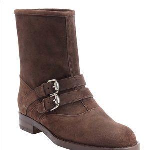 Gucci Margarett Suede Boots in Cocoa